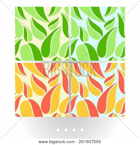 Set Of Bright Abstract Vector Seamless Patterns With Big Leaves On Bright Background. Big Abstract C