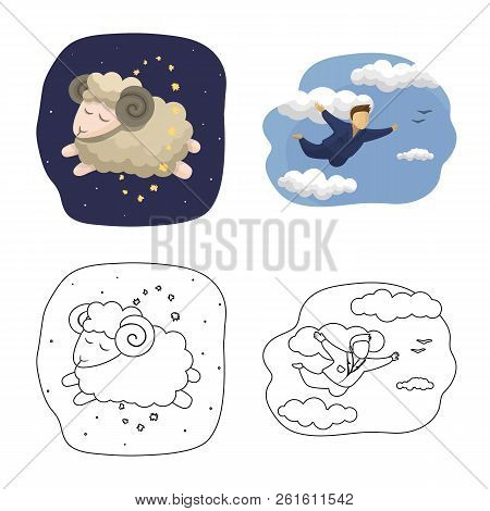 Vector Illustration Of Dreams And Night Sign. Collection Of Dreams And Bedroom Stock Vector Illustra