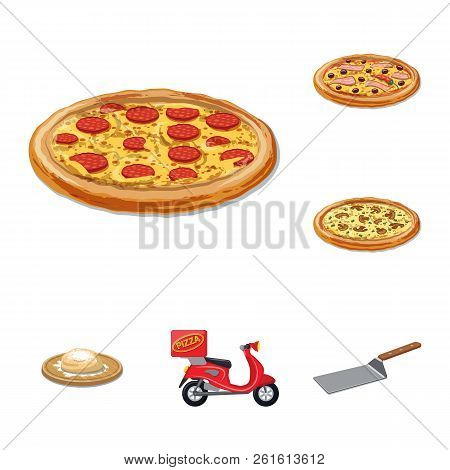 Isolated Object Of Pizza And Food Sign. Set Of Pizza And Italy Stock Vector Illustration.