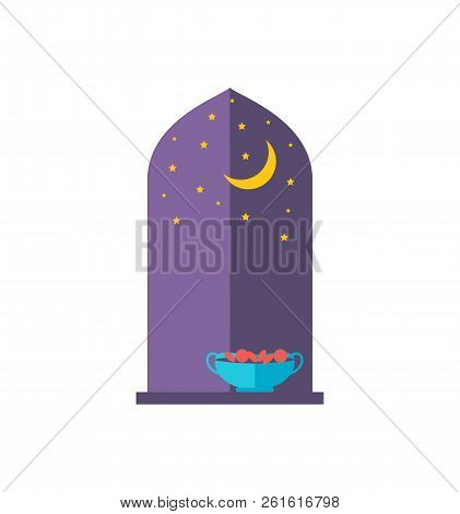Nightscape In Abstract Window Colorful Poster Vector Illustration Of Starry Sky And Golden Moon, Spe
