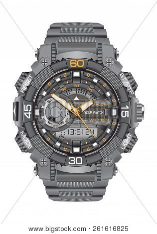 Realistic Clock Watch Sport Chronograph Grey For Men Design Modern On White Background Vector Illust