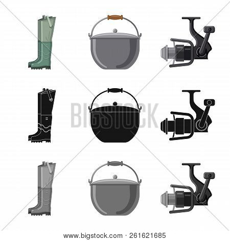 Vector Illustration Of Fish And Fishing Symbol. Collection Of Fish And Equipment Vector Icon For Sto