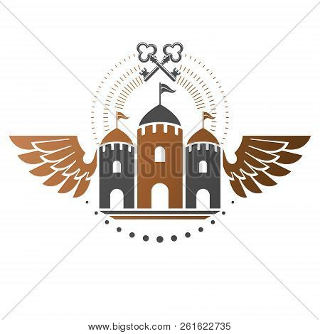 Ancient Bastion Emblem. Heraldic Vector Design Element. Retro Style Label, Heraldry Logo. Antique Lo