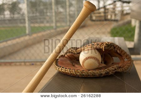 Baseball & Bat on the bench with a glove