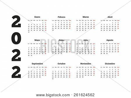 2022 Year Simple Calendar In Spanish, Isolated On White