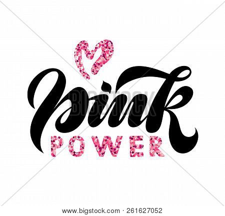 Breast Cancer Awareness Lettering On White Background With Pink Heart. Vector Illustration Of Pink P