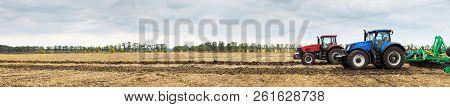 Tractor Working On The Farm, A Modern Agricultural Transport, Cultivation Of Fertile Land, Tractor O