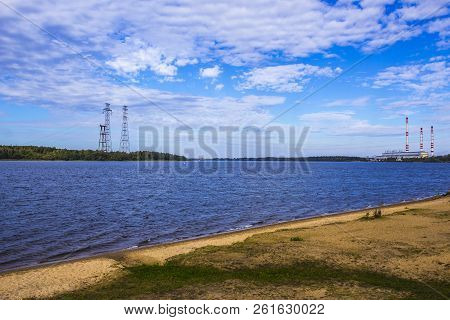 The Volga River. Central Russia.power Line And Power Station On The Banks Of The River.background Fo
