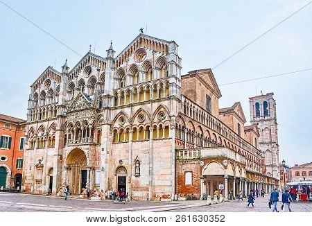 Ferrara, Italy - April 30, 2013: One Of The Most Beautiful Building Of The City Is The Ferrara Cathe