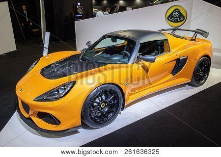 Paris - Oct 2, 2018: Lotus Exige Sport 410 Sports Car Showcased At The Paris Motor Show.
