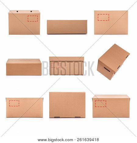 Set Of Cardboard Boxes Isolated On A White Background.