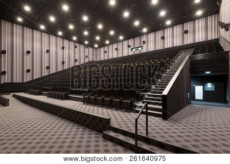 Moscow - July 21, 2014: Panoramic View Of An Empty Cinema Hall. Contemporary Cinema Auditorium Desig