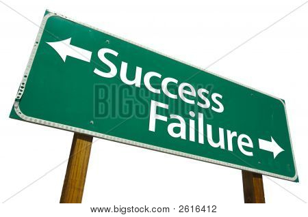 Success And Failure Road Sign Isolated On White With Clipping Path