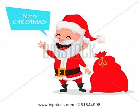 Merry christmas vector photo free trial bigstock merry christmas funny santa claus cheerful cartoon character saying greeting words usable for m4hsunfo