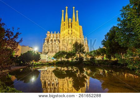 Barcelona, Spain - October 03, 2017: Sagrada Familia Is A Catholic Church In Barcelona, Designed By