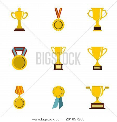 Trophy And Awards Icons Set. Flat Illustration Of 9 Trophy And Awards Icons For Web