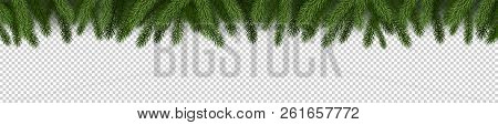 Fir Branches On Checkered Background. Spruce Branches. Christmas Tree Branches. Can Be Used On Any B
