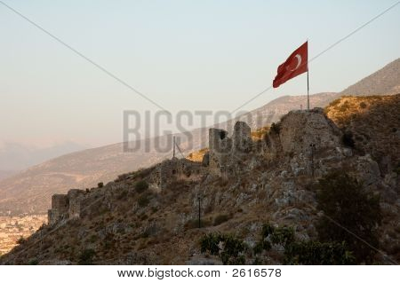 Turkish Flag Over Mountain