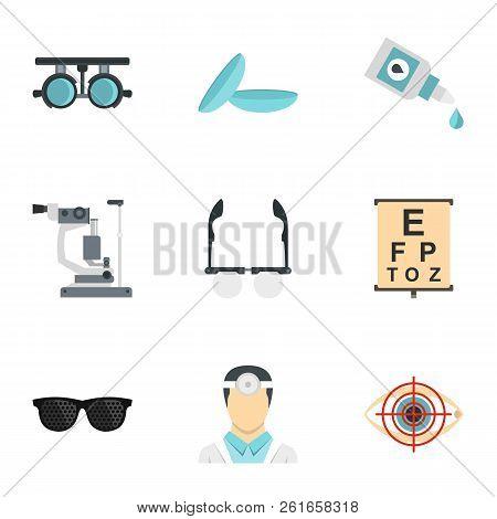 Vision Correction Icons Set. Flat Illustration Of 9 Vision Correction Icons For Web