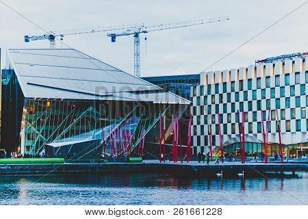 Dublin, Ireland - September 29th, 2018: Detail Of Grand Canal Square In Dublin City Centre At Dusk