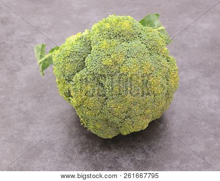 Head Of Calabrese Broccoli Beginning To Spoil With Yellowing Florets, On A Grey Background