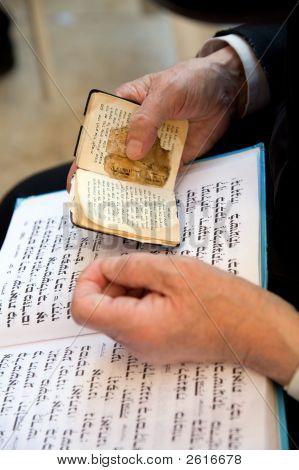 Orthodox Being Prayed In Western Wall In Jerusalem.