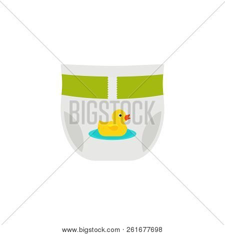 Diaper Baby Icon. Vector. Disposable Nappy Isolated On White Background In Flat Design. Cartoon Illu