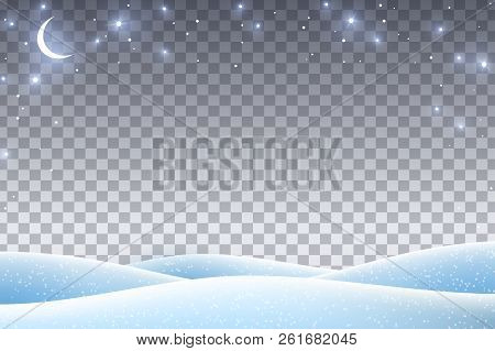 Winter Landscape With Empty Transparent Space For 2019 Happy New Year And Merry Christmas Design. Ve