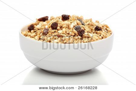 Granola Breakfast On A Bowl Over White