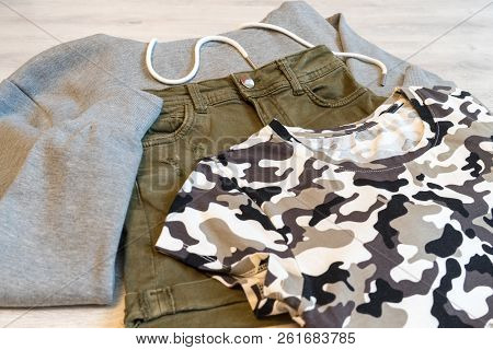 Teen Clothing Set: Grey Sweatshirt, Green Shorts And T-short In Military Style