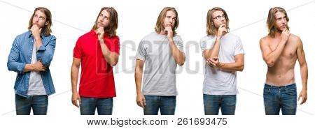 Collage of handsome young man wearing casual look over white isolated backgroud with hand on chin thinking about question, pensive expression. Smiling with thoughtful face. Doubt concept.