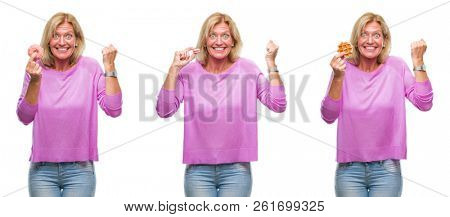 Collage of beautiful middle age blonde woman eating sweets over white isolated backgroud screaming proud and celebrating victory and success very excited, cheering emotion