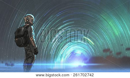 Science Fiction Scene Of The Astronaut Standing In Front Of Starry Tunnel Entrance, Digital Art Styl