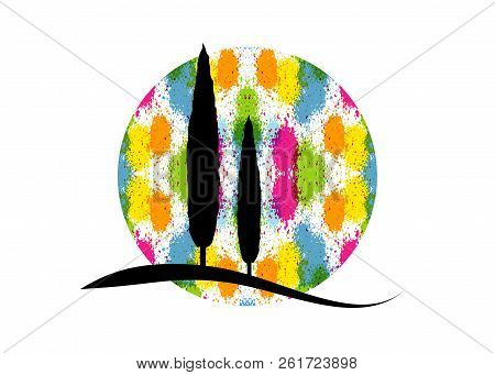 Cypress Icon. Simple Illustration Of Cypress Vector Icon For Web. Italian Silhouette Colorful Trees