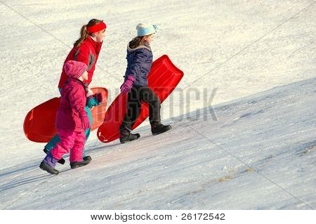 Several children sledding on a hill in the winter