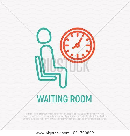 Waiting Room Sign: Man Sits On Chair Near Clock. Thin Line Icon. Modern Vector Illustration.