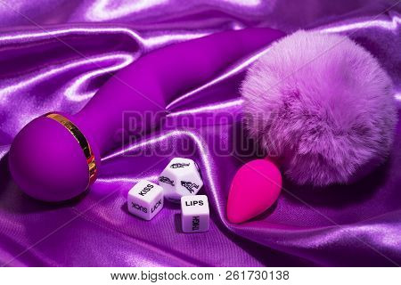 Violet Vibrator And Cubes For Sex Games, Toys Only For Adult.