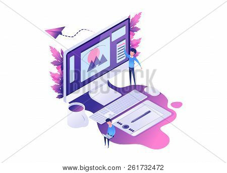 Modern Isometric Concept Of Designer Or Illustrator Workplace With Computer Graphic Tablet,  With De
