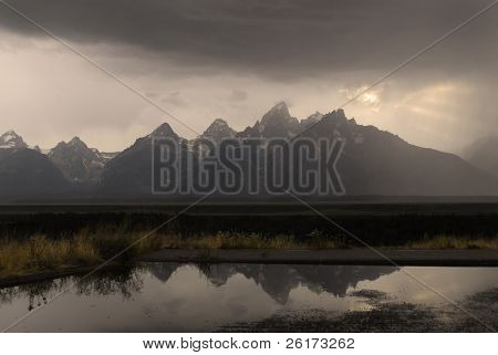 Detail of Grand Tetons Mountains with stormy sky