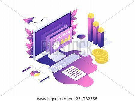 Modern Web Concept With Flat Isometric Design Of Data Analysis. With Computer, Diagram, Graphics, Co