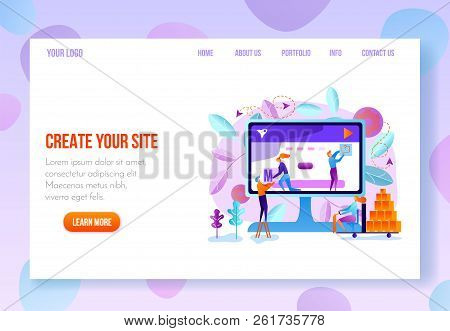 Site Constructor, Website Builder Online Service Page Flat Vector Template In Pastel Colors With Nav