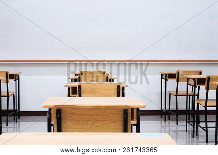 Empty School Classroom With Desks Chair Wood, Greenboard And Whiteboard In High School Thailand, Vin