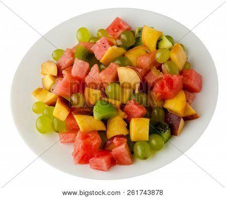 Fruit Salad.vegetarian Salad . Watermelon, Kiwi, Grapes,peach  On A Plate Isolated On White Backgrou