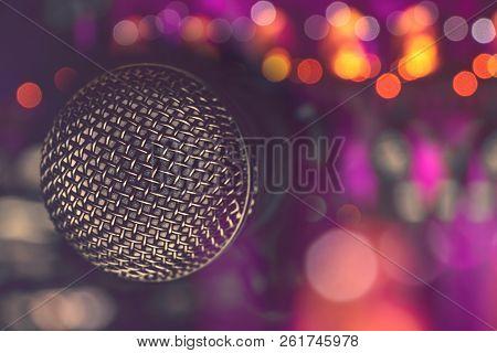 Microphone In Bar For Karaoke In Colourful Nightclub, Nightlife.