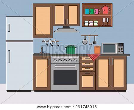 Kitchen Room Interior Flat Vector Illustration. Kitchen With Furniture And Appliances, Worktop, Micr
