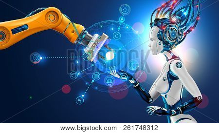 Robot With Artificial Intelligence Takes Control Of Factory Into Their Hands. Robotic Arm Goes Into