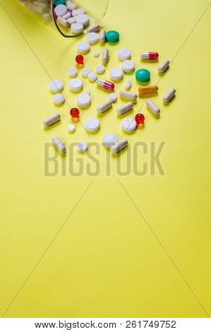 Disease Concept. No To Drugs And Pills Concept. Packaging Of Tablets And Pills On The Table. Pile Of