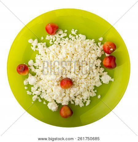 Cottage Cheese With Cherry Isolated On White Background. Cottage Cheese With Cherries On A Plate. He