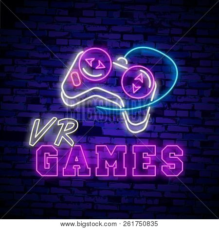 Vr Games Neon Sign Vector. Virtual Reality Logotype Games, Emblem In Modern Trend Design. Virtual Re