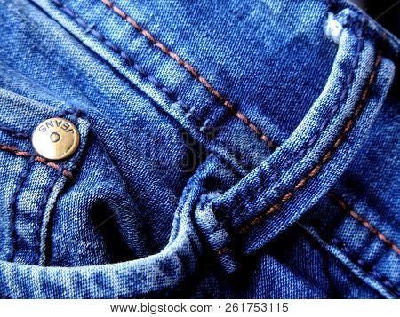 Vibrant Blue Close Up Image Of A Denim Jeans With Coin And Watch Pocket Inside The Side Pocket And R